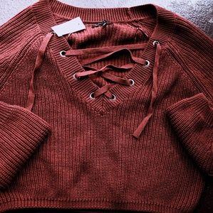 Maroon crop top sweater